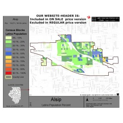 M011-Alsip, Latino Population Percentages, by Census Blocks, Census 2010