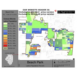 M011-Beach Park, Latino Population Percentages, by Census Blocks, Census 2010
