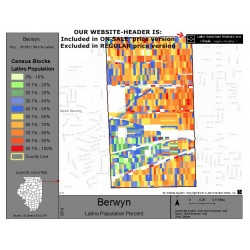 M011-Berwyn, Latino Population Percentages, by Census Blocks, Census 2010