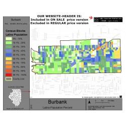 M011-Burbank, Latino Population Percentages, by Census Blocks, Census 2010