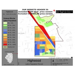 M011-Highwood, Latino Population Percentages, by Census Blocks, Census 2010