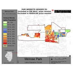 M011-Melrose Park, Latino Population Percentages, by Census Blocks, Census 2010