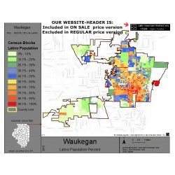 M011-Waukegan, Latino Population Percentages, by Census Blocks, Census 2010