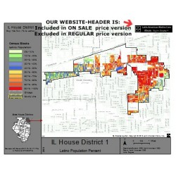 M42-IL House District 1, Latino Population Percentages, by Census Blocks, Census 2010