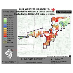M52-IL Senate District 1, Latino Population Percentages, by Census Blocks, Census 2010