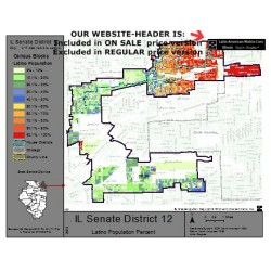 M52-IL Senate District 12, Latino Population Percentages, by Census Blocks, Census 2010