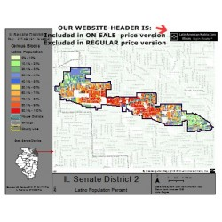 M52-IL Senate District 2, Latino Population Percentages, by Census Blocks, Census 2010