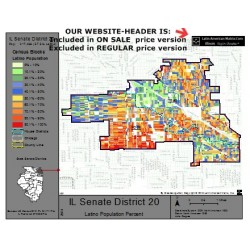 M52-IL Senate District 20, Latino Population Percentages, by Census Blocks, Census 2010