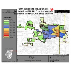 M14-Elgin, Latino Population Percentages, by Census Tracts, Census 2010